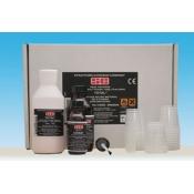 Total Hard: 1 polvere rosa da 100 gr., 1 liquido da 110 cc., 1 adesivo grab da 30 ml.
